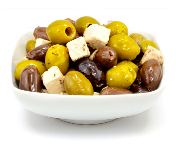 Mix Olives with Feta Cubes