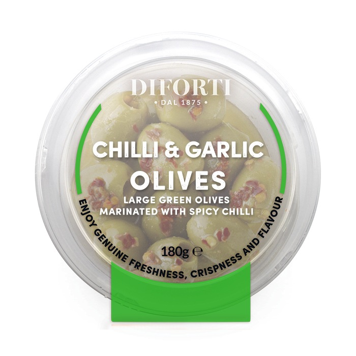 Chilli And Garlic Green Pitted Olives 180gr