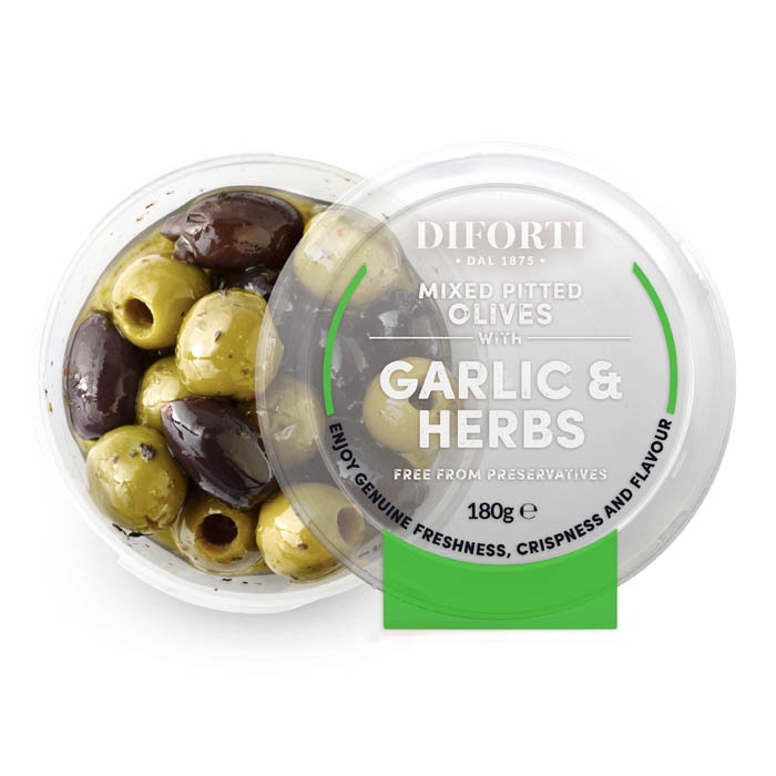 Garlic And Herbs Mixed Pitted Olives 180gr