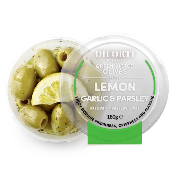 Green pitted Olives Lemon & Herbs 180gr