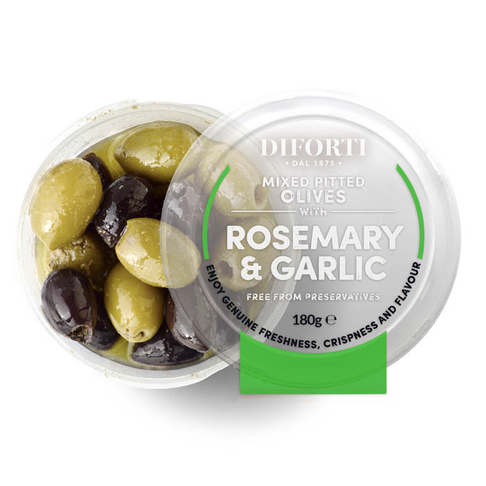 Garlic And Rosemary Mixed Pitted Olives 180gr